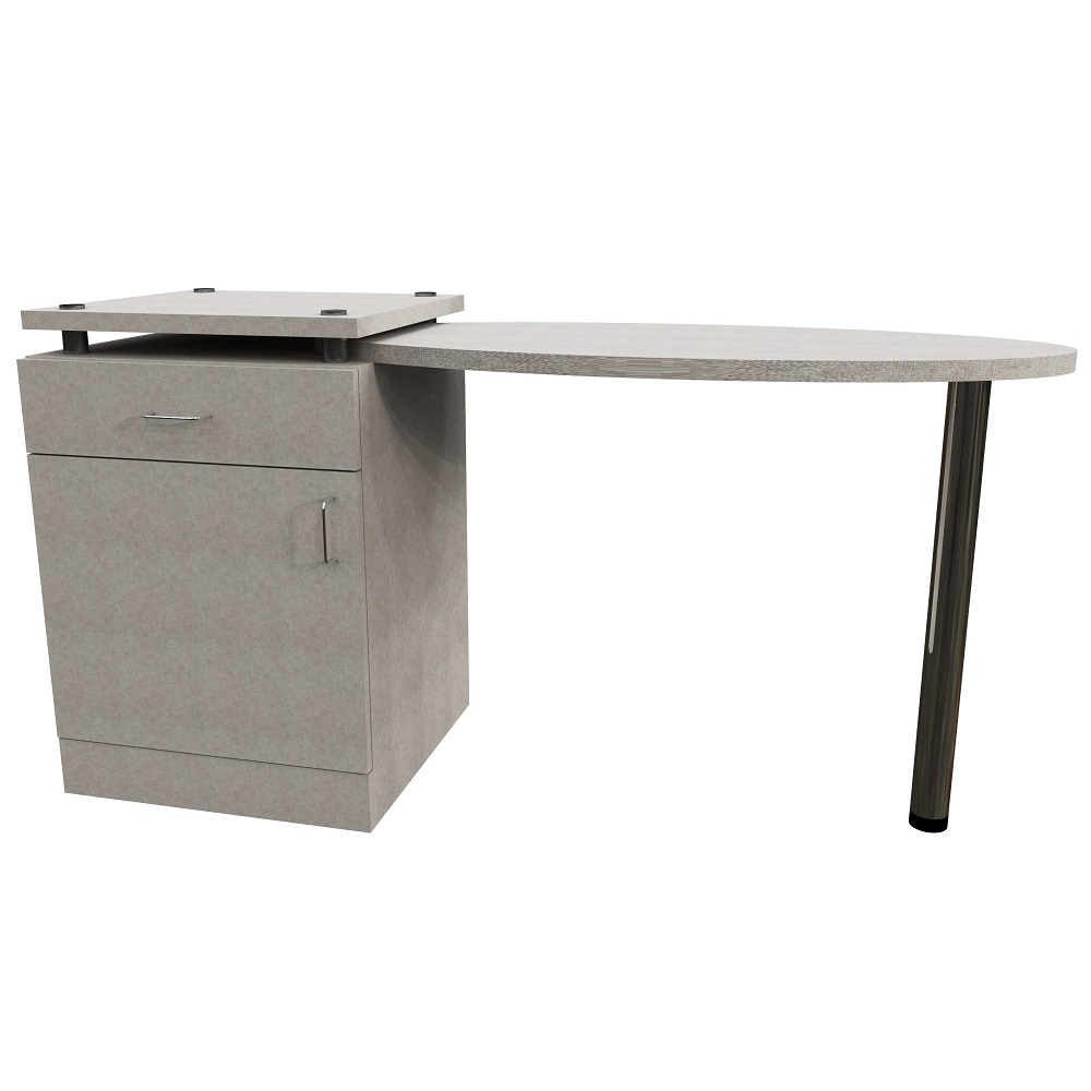 Oval Left Hand Table with 1 Door & Drawer Pedestal