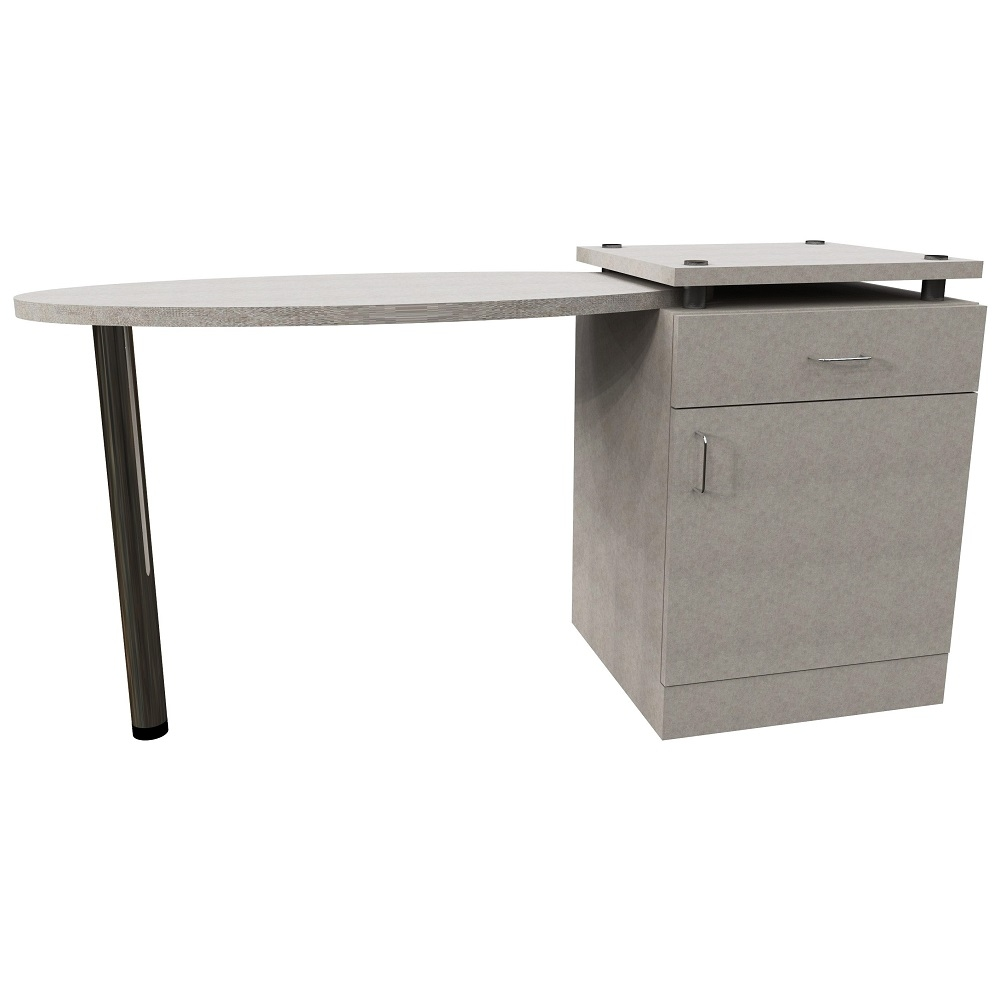 Oval Right Hand Table with 1 Door & Drawer Pedestal