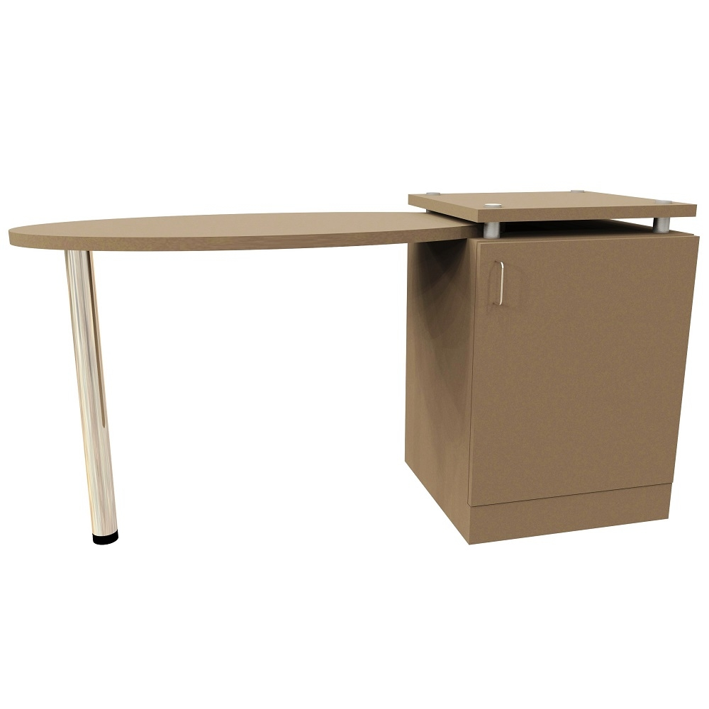 Oval Right Hand Table with 1 Door Pedestal