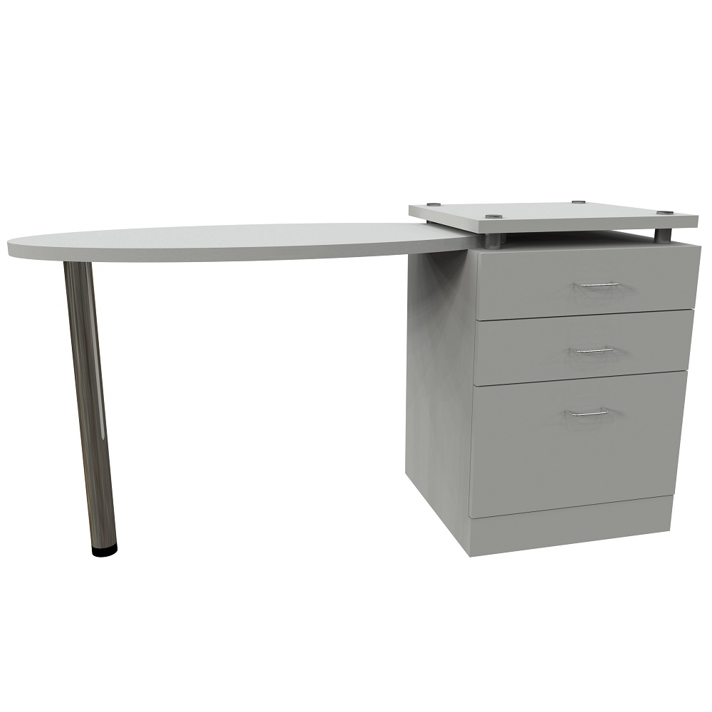 Oval Right Hand Table with 3 Drawer Pedestal