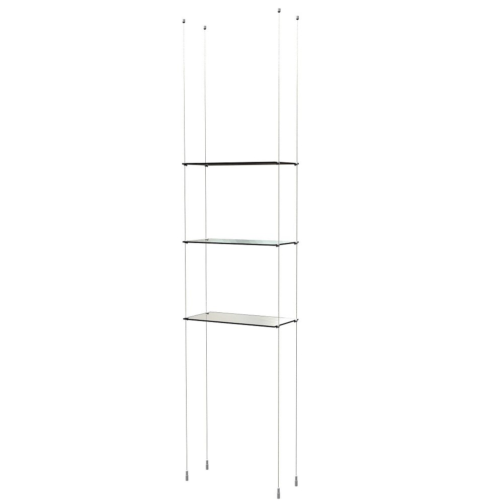 Floating Glass Shelves on Cable