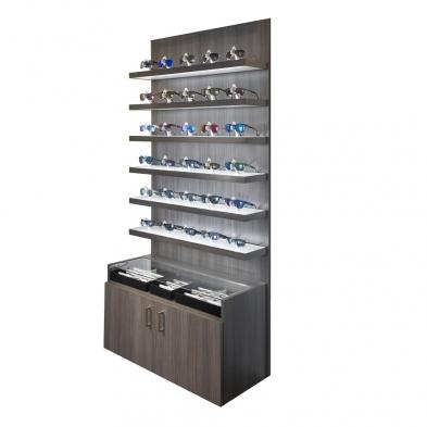 locking shelf eyewear display, optical furniture, LED lit display, LED lit eyewear display