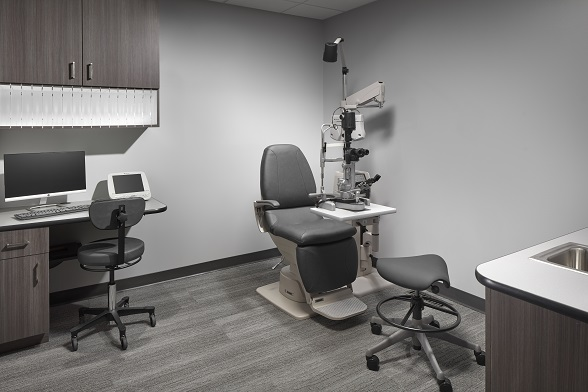 optical exam room, exam room cabinets, exam room casework, optical space design, lab cabinets, doctors office furniture