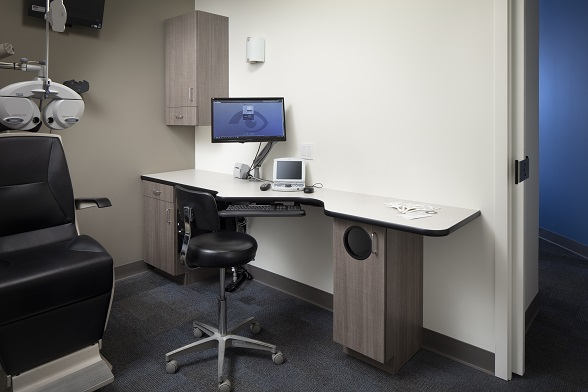 exam room cabinets, optical exam room, optical lab, optical space remodel, optical department cabinets