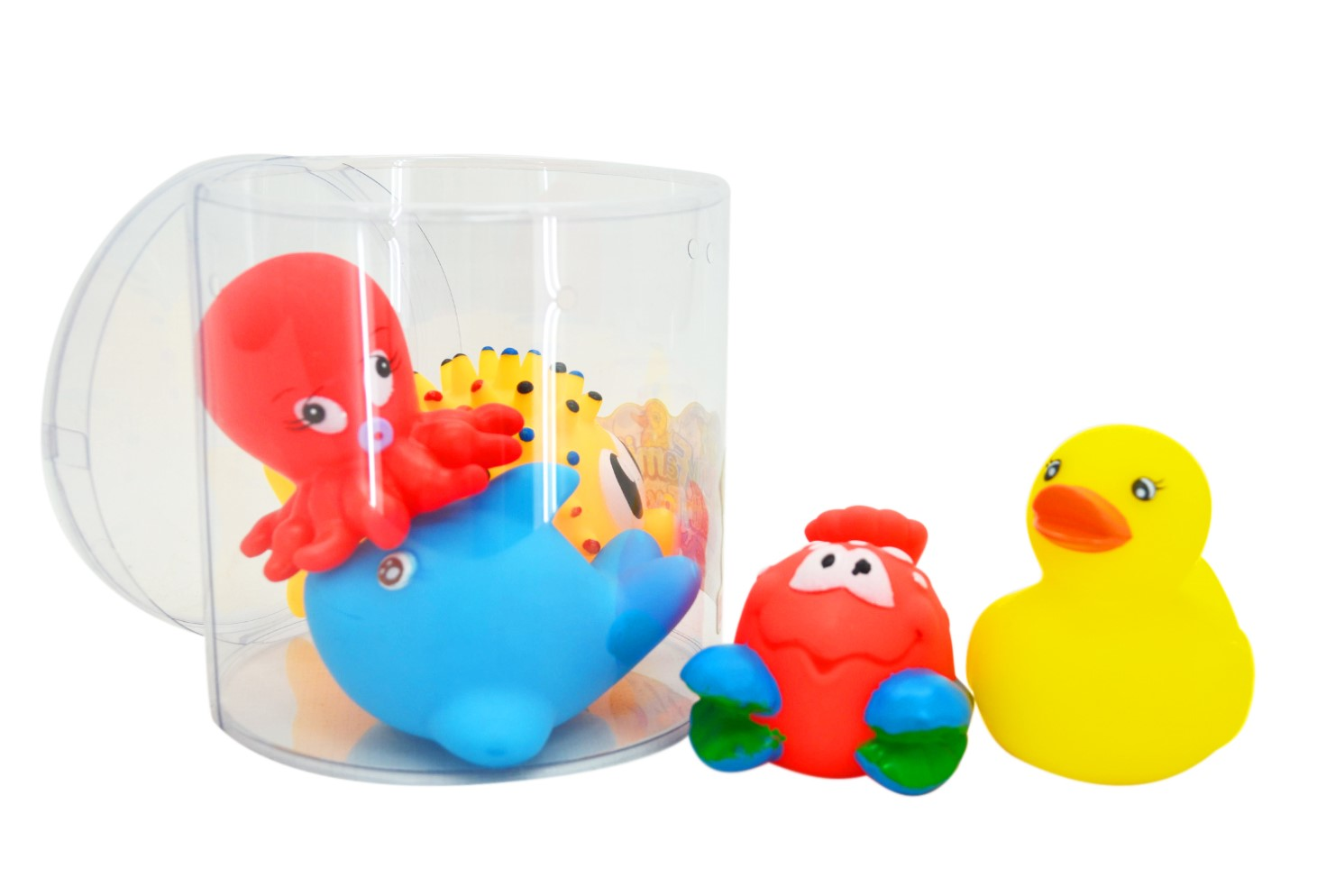 5PCE SQUEAKY SEA ANIMALS IN PVC TUB