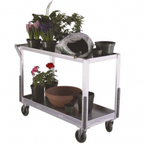 "Aluminum 2-Tier With Lip Cart 18.25"" x 45"" x 32""H"