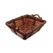 Rectangular Wicker Basket with Handles 15.5 x 12.5 x 5""