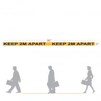 "Keep 2M Apart Floor Sticker 2 x 36"" Yellow/Black 250/case"