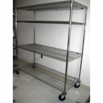 Display Rack 4 Shelves, Poles & Castors 24 x 60 x 63