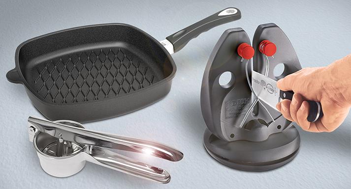 BBQ Surface Frying Pan, Sharpening Steel & Potato Ricer