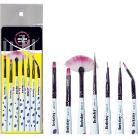 Berkeley 7 Style Nail Art Brush Set, Dotted Handle AB527-DT