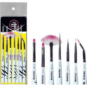 Berkeley 7 Style Nail Art Brush Set, Zebra Handle AB527-ZE