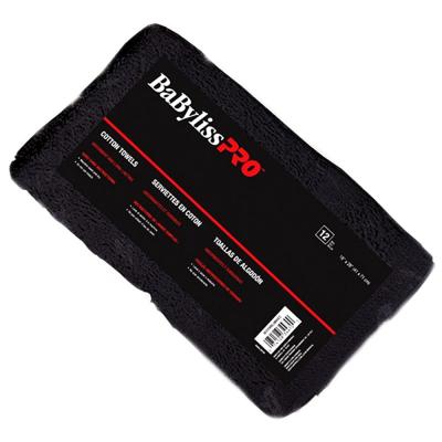 """BabylissPRO Cotton Towels 16""""x28"""" 1Dozen - Black #34470"""