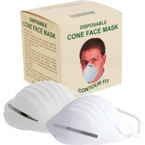 Berkeley Disposable Cone Face Mask 50ct White FM111-WH