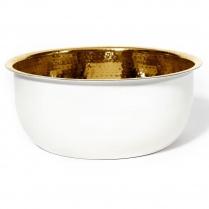 Noel Asmar Pedicure Bowl Hammered Brass W/White PB3001W