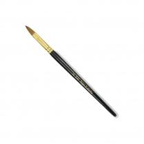 KM Super Kolinsky Acrylic Brush Black/Gold Oval #14, KM-BR14