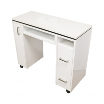 "JJP Manicure Table 38 W"" X 15.5D""X 30H"" High Gloss White."
