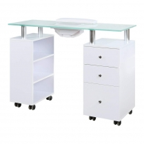 J&A Nail Table White Frosted Glass Top With Draft Fan 3 pcs