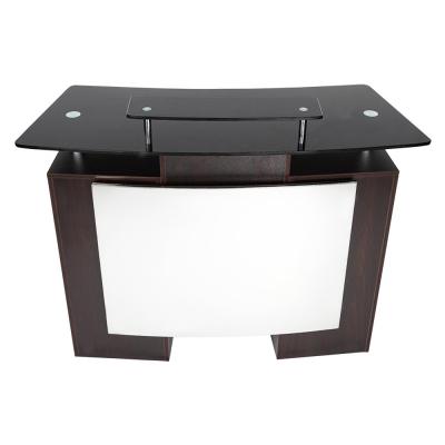 J&A Reception Desk With Glass Top 3pcs -Walnut Brown DP-3313