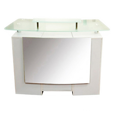 J&A Reception Desk With Glass Top 3Pcs/Set - White DP-3313