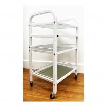 PI Beauty Trolley Glass Shelves White BT-018