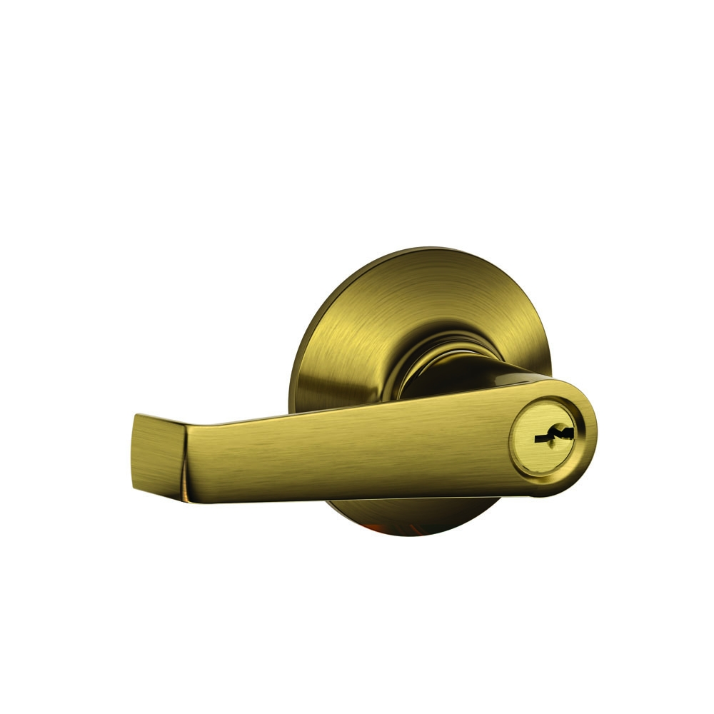 Schlage F51AELA609 Antique Brass Elan Keyed Entry F51A Panic Proof Door Lever