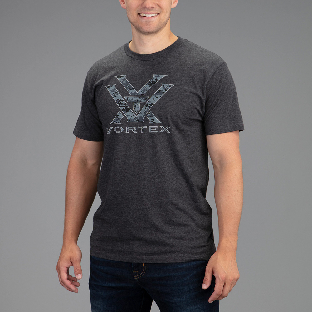 Vortex Men's T-Shirt: Charcoal Heather Camo Logo