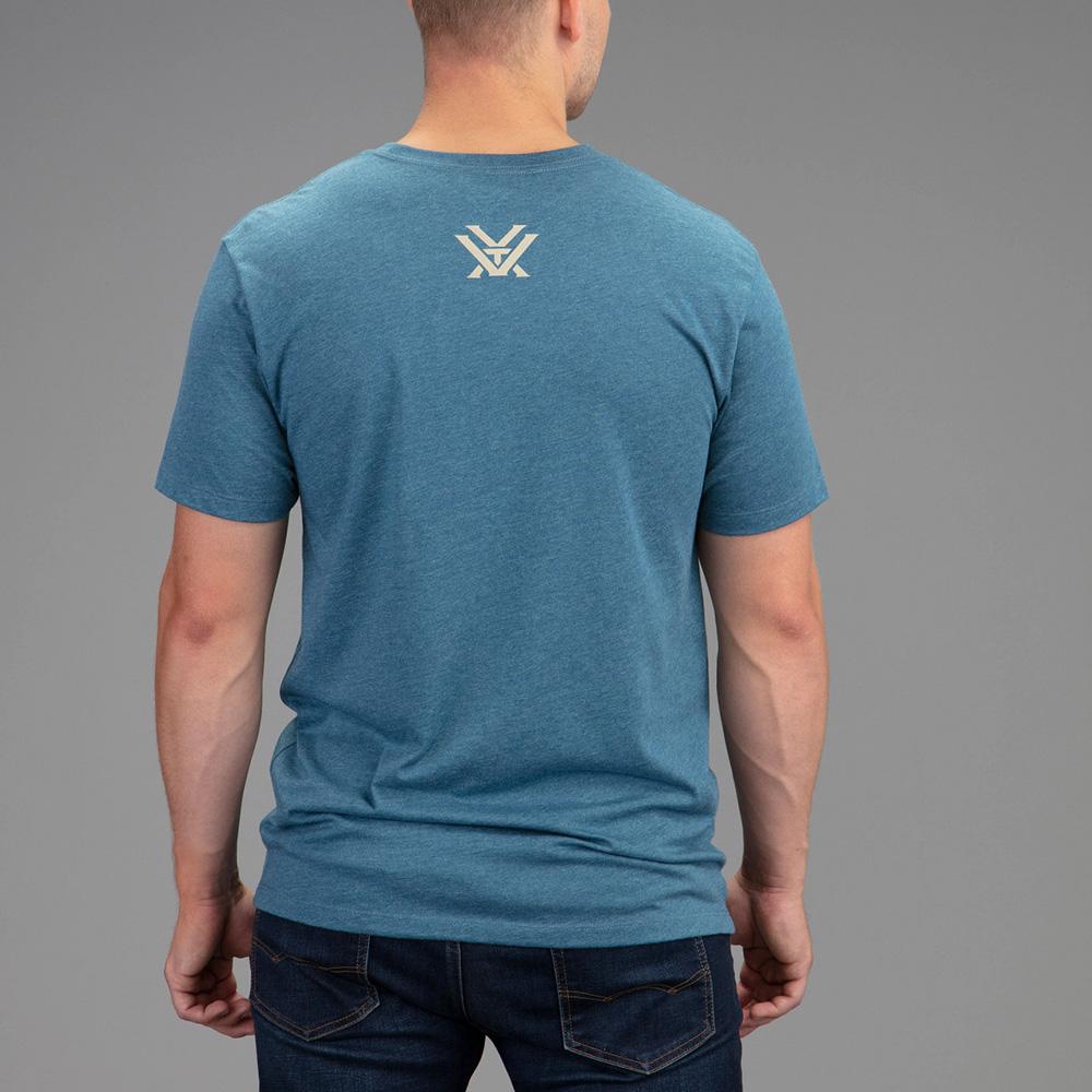 Vortex Men's T-Shirt: Steel Blue Heather Camo Logo