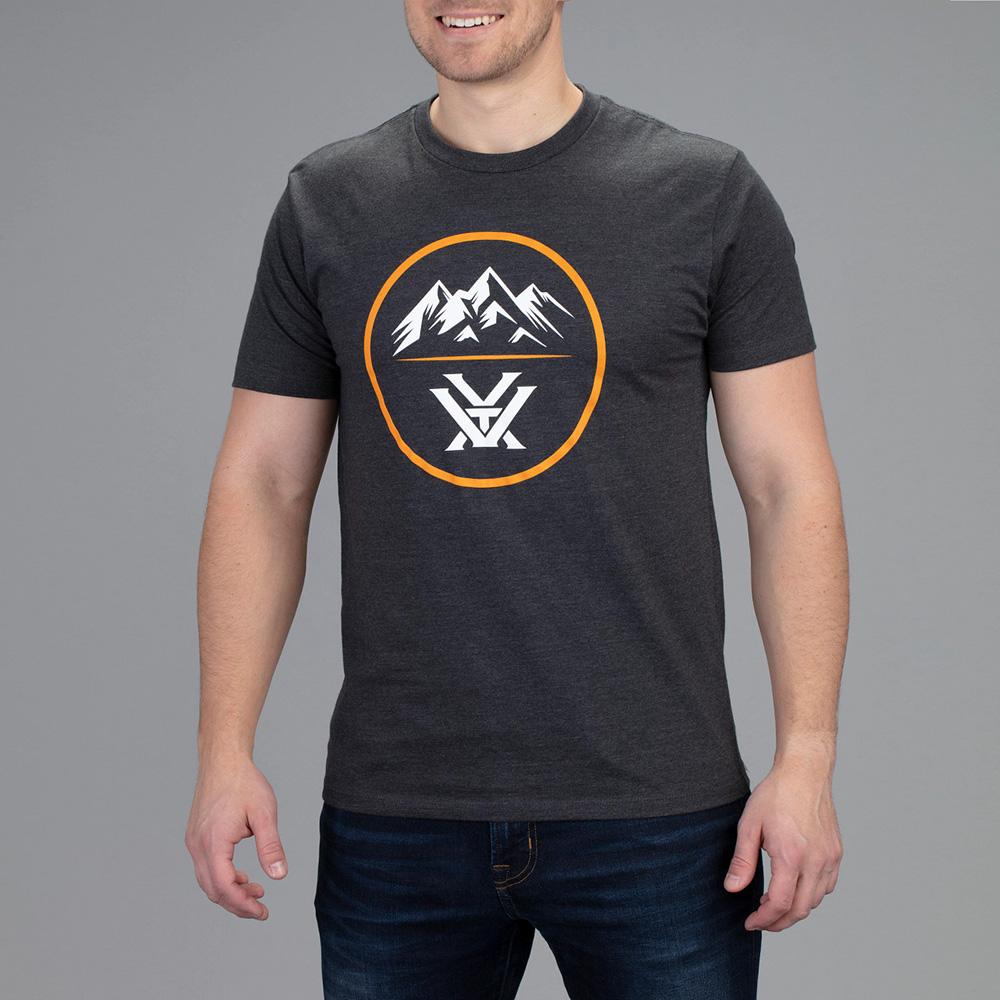 Vortex Men's T-Shirt: Charcoal Heather 3 Peaks