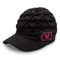 Vortex Women's Cap: Black Knit with Brim