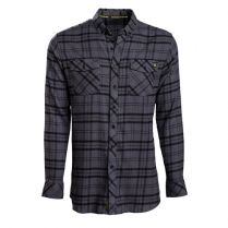 Vortex Men's Button Down Shirt: Black Flannel