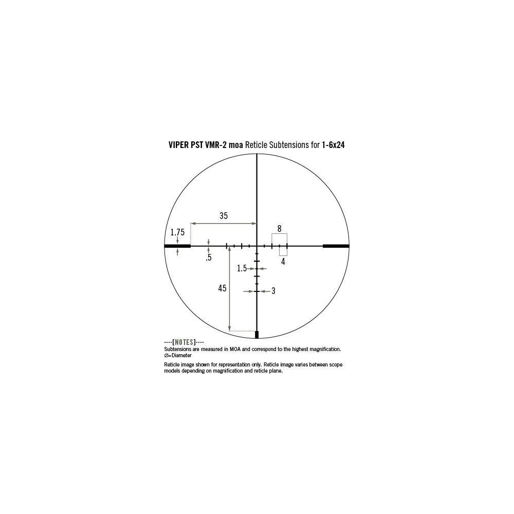 Lunette de tir Viper PST 1-6x24 SPF avec réticule VMR-2 MOA de Vortex