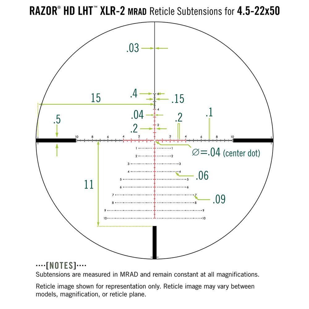 Vortex Razor LHT 4.5-22x50 FFP XLR-2 mrad