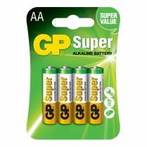 GP15A-2U4  Pile alcaline AA 1.5V GP Super (catre de 4)