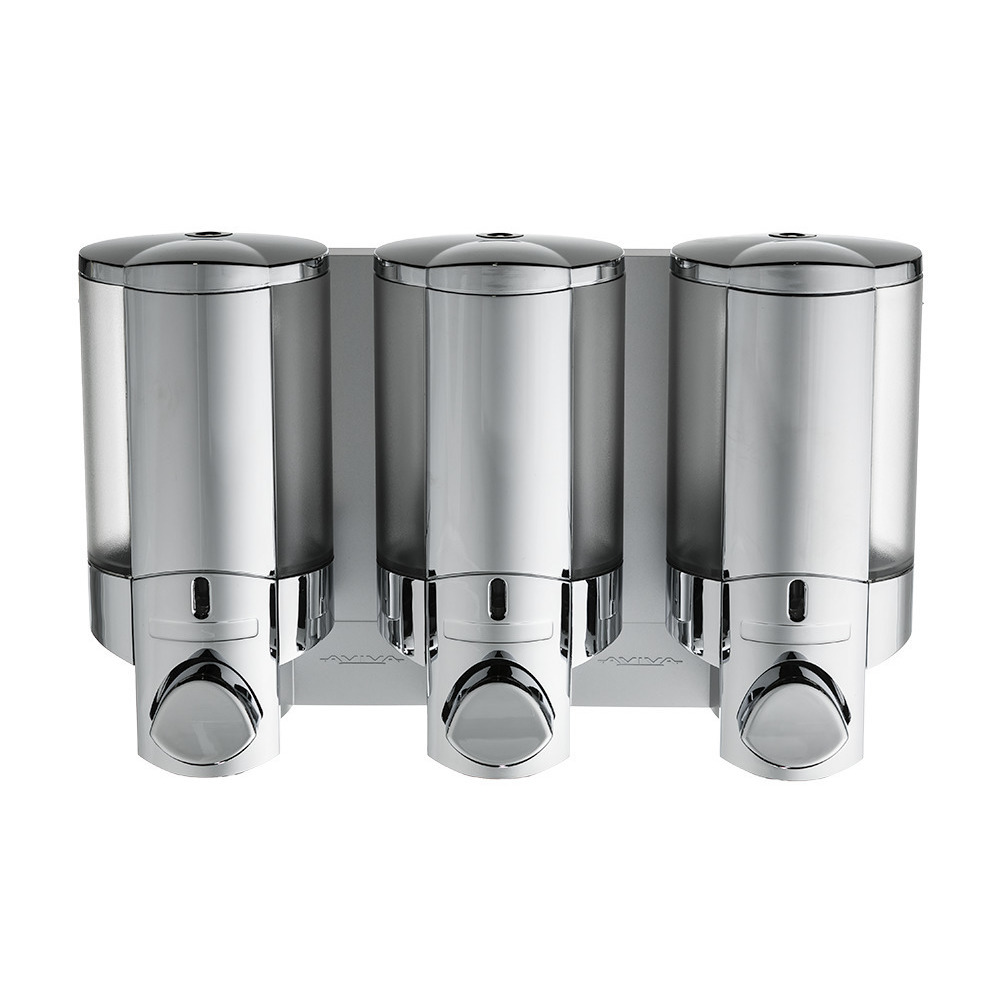 Wall Mounted Soap Dispenser Perfect for Locker Rooms and Shower Area Double Locking Chrome Translucent Dispenser Aviva II