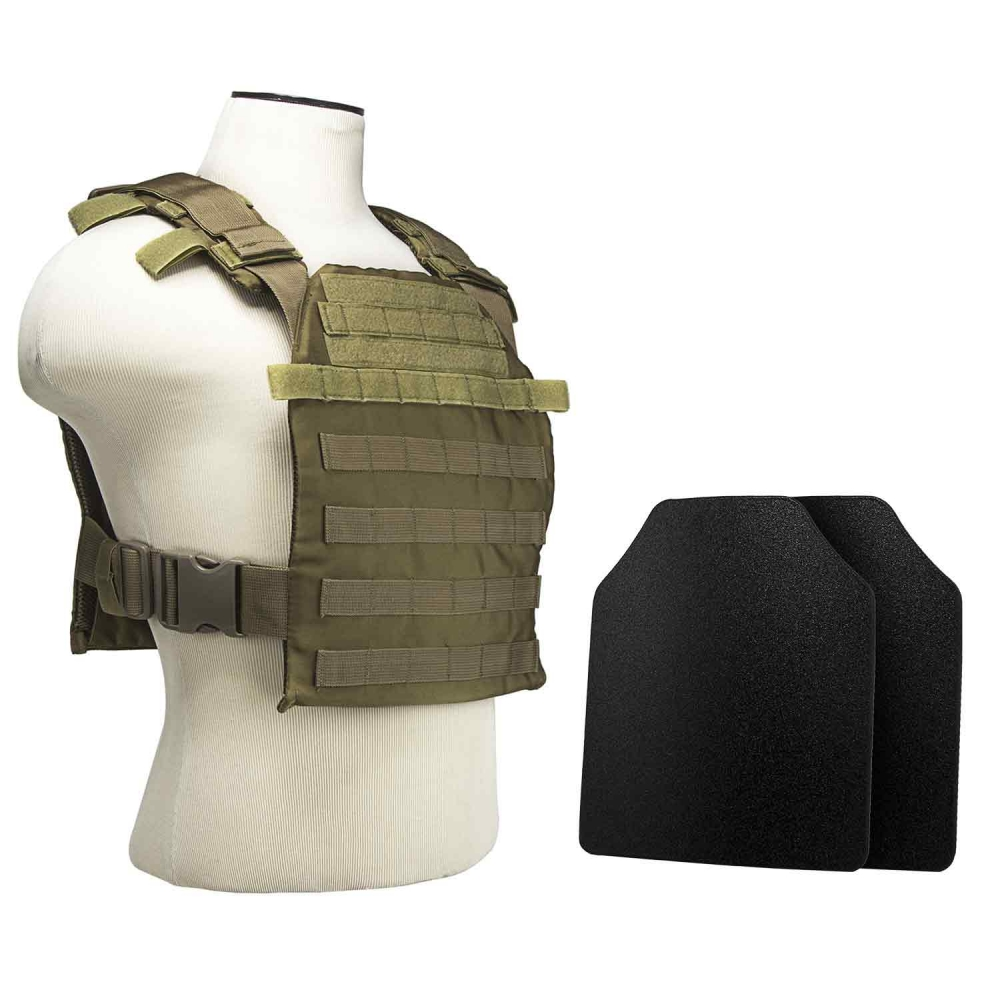 """Fast Plate Carrier w/UHMWPE Curved 10""""X12' Level IIIA Shooter's Cut 2X Hard Ballistic Plates [Small-2XL]"""