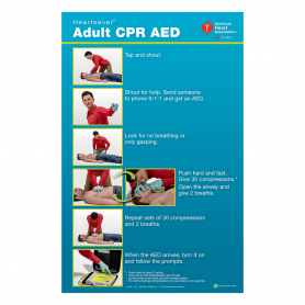AHA Heartsaver® Adult CPR AED Poster - 3 Pack