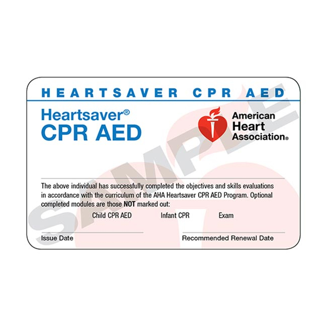 AHA Heartsaver CPR AED Course Completion Cards 24 Pack WorldPoint