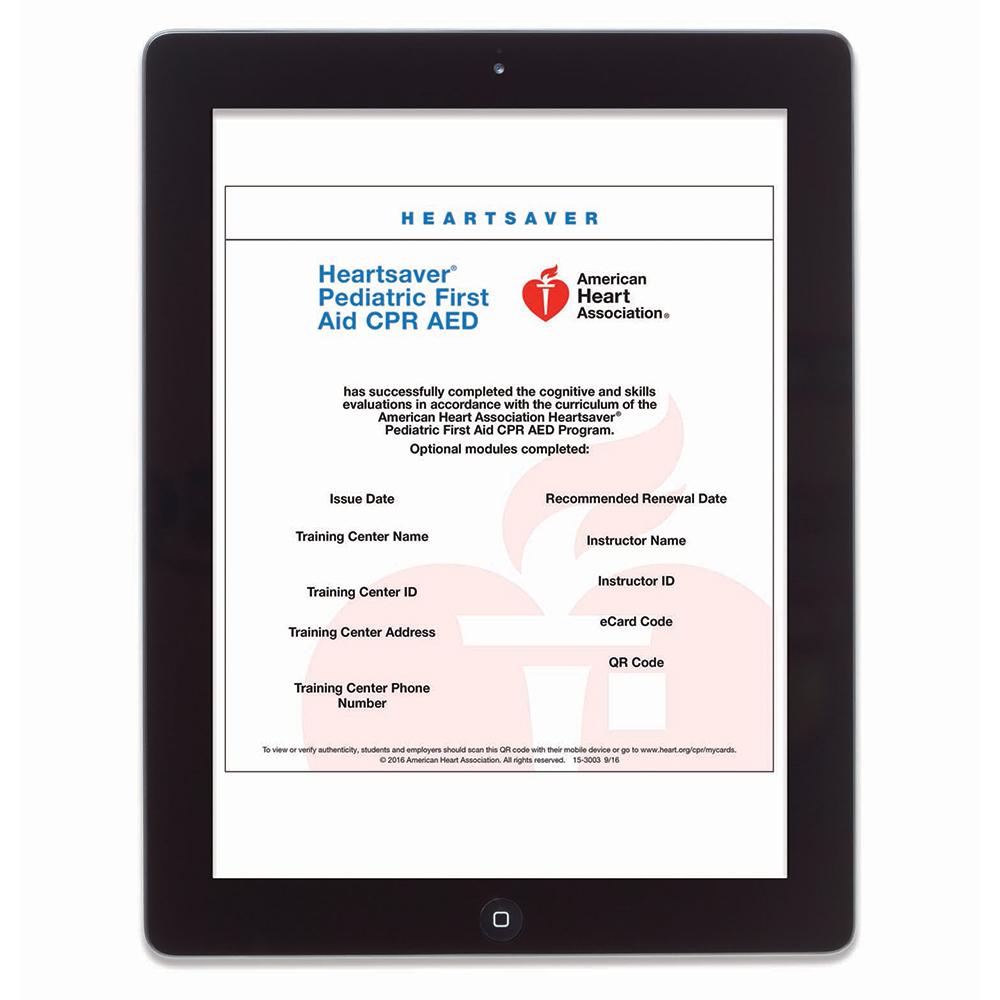AHA Heartsaver® Pediatric First Aid CPR AED eCard WorldPoint®