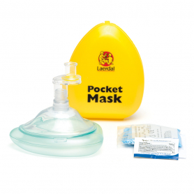 Laerdal® Pocket Mask with Gloves & Wipe in Hard Case - Yellow
