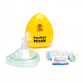 Laerdal® Pocket Mask with O2 Inlet, Headstrap and Gloves in Hard Case