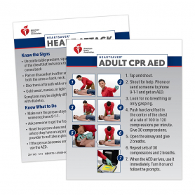 2020 AHA Heartsaver® Adult CPR AED Wallet Card - 100 Pack