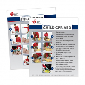 2020 AHA Heartsaver® Child & Infant CPR AED Wallet Card - 100 Pack