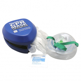 WorldPoint® Adult/Child CPR Mask with O2 Inlet in Hard Case - Blue