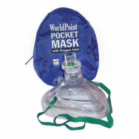 WorldPoint® Adult/Child CPR Mask with O2 Inlet in Soft Case - Blue
