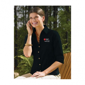 AHA Women's 3/4 Sleeve Dress Shirt - Black - Large