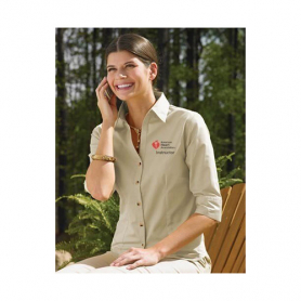 AHA Women's 3/4 Sleeve Dress Shirt - Khaki - 2XL