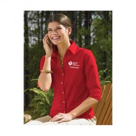 AHA Women's 3/4 Sleeve Dress Shirt - Red - Medium