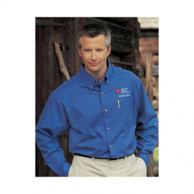 AHA Men's Long Sleeve Dress Shirt - Blue - Small