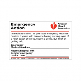 AHA Emergency Action Wallet Card - 50 Pack